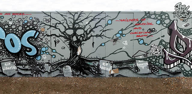 detail: ...δυσ τόπος..✞..Dystopia... Tree of Life and Death... R.I.P. Liberté, Égalité, Fraternité and Your Name by Avelon 31 and DoggieDoe - The Dark Roses - Nordhavn, Copenhagen, Denmark 16-18. September 2017